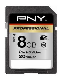 Mémoire PNY SD 8Go Optima Pro Class 10