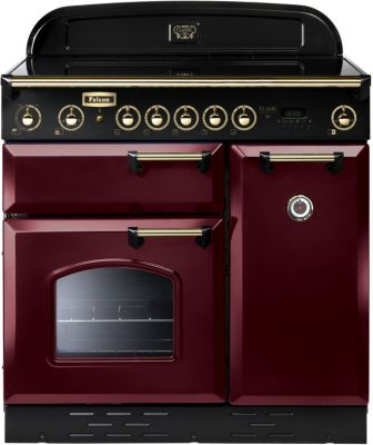 Falcon clas90 induc rouge laiton piano de cuisson - Piano de cuisson rouge ...
