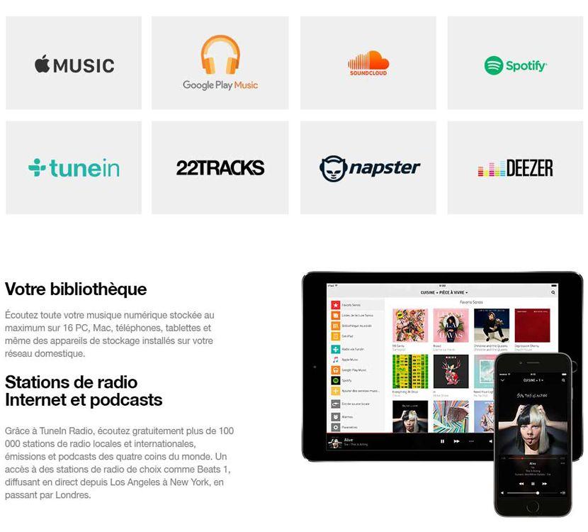 Services compatibles Sonos