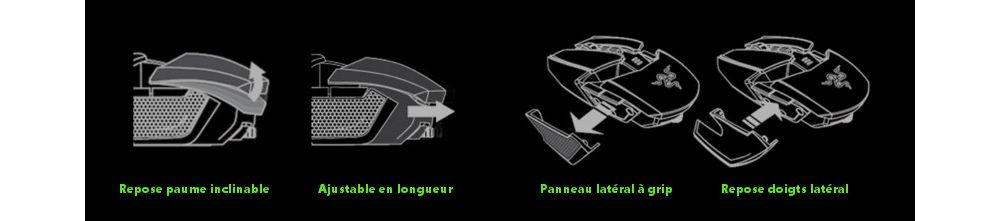 Razer Ouroboros souris gamer ambidextre sans fil gaucher et droitier 8200 dpi 4G