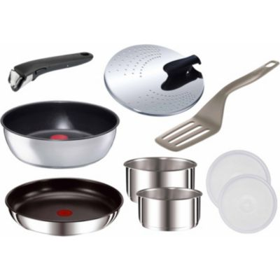 Batterie de cuisine tefal ingenio 5 inox 9 pi ces for Batterie de cuisine induction inox