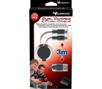 Subsonic Dual Charge & Play Cable PS3 (3m)