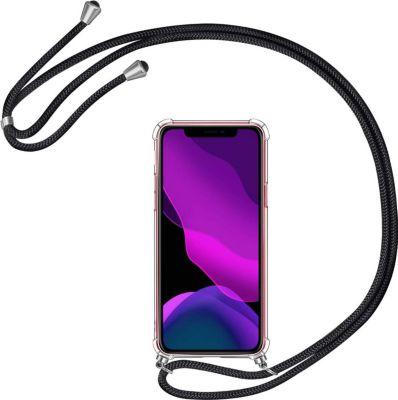 Noir Transparente Silicone Housse avec Cordage Lanyard Case XTCASE Collier pour iPhone 12 Mini Coque Etui de T/él/éphone avec Cordon Tour de Cou Lani/ère en Corde