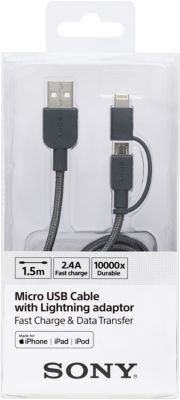 Câble Duo lightning/micro usb sony 1m50 gris