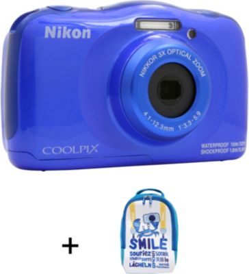 appareil photo compact nikon coolpix w100 bleu sac dos. Black Bedroom Furniture Sets. Home Design Ideas