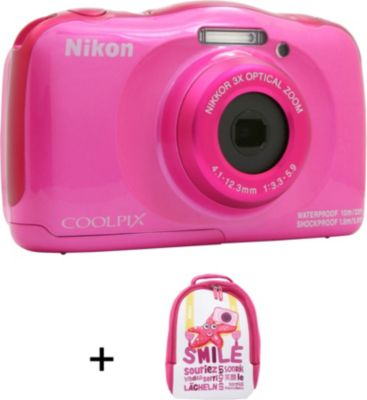 Appareil photo Compact Nikon Coolpix W100 Rose + sac à dos