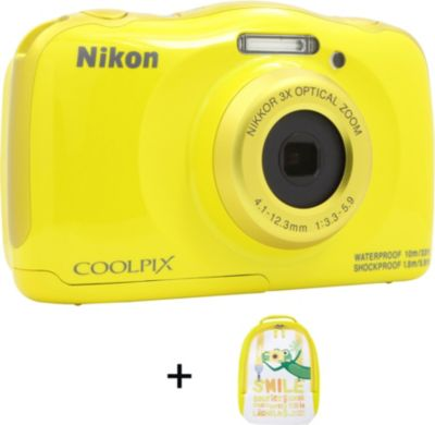 Appareil Photo compact nikon coolpix w100 jaune + sac à dos