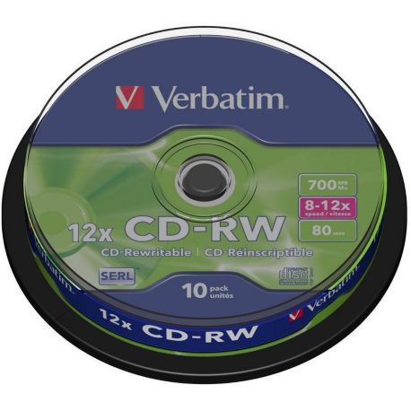CD-R VERBATIM CD-RW 700MB 10PK Spindle  8-12x