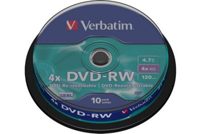 dvd cd vierge verbatim dvd rw 4 7gb 10pk spindle 4x boulanger. Black Bedroom Furniture Sets. Home Design Ideas