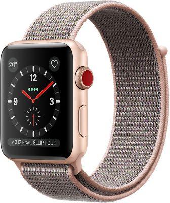 Montre Connectée apple watch 38mm alu rose/boucle rose series 3 cell
