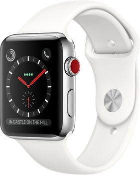 Montre Connectée apple watch 42mm acier/blanc series 3 cellular