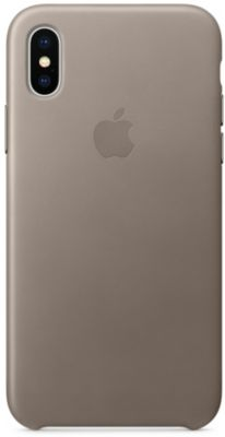 Coque Apple iPhone X cuir Taupe