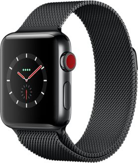 Montre Connectée apple watch 38mm acier/milanais noir series 3 cell