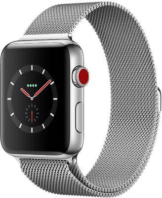 Montre Connectée apple watch 42mm acier/milanais blanc series 3 cell