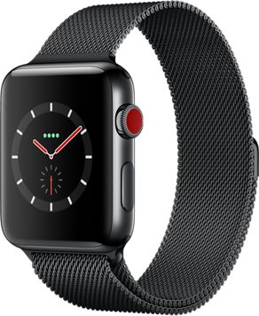 Montre Connectée apple watch 42mm acier/milanais noir series 3 cell
