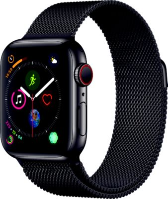 Montre Connectée apple watch 40mm acier noir/noir mil series 4 cel