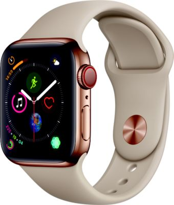 Montre Connectée apple watch 40mm acier or/gris sable series 4 cell