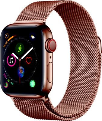 Montre Connectée apple watch 40mm acier or/boucle or mi series 4 cell