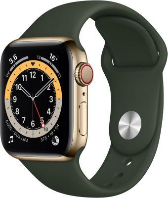 Montre connectée Apple Watch 40MM Acier Or/Vert Series 6 Cellular