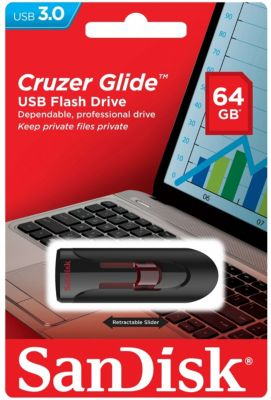 Clé Usb sécurisée sandisk cruzer glide flash drive 64go
