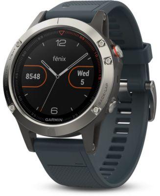 Montre sport GPS Garmin Fenix 5 HR Silver(bracelet bleu granite)