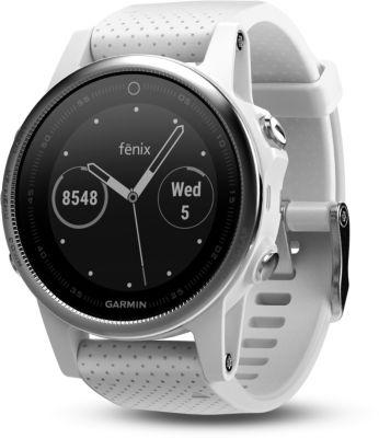 Montre sport GPS Garmin Fenix 5s HR Silver (bracelet blanc)