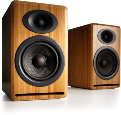 Enceinte bibliothèque Audioengine P4 Solid bamboo X2