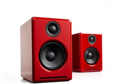 Enceinte bibliothèque Audioengine A2+ laqué rouge X2