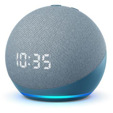 Assistant vocal AMAZON Echo Dot 4 avec Horloge Bleu gris