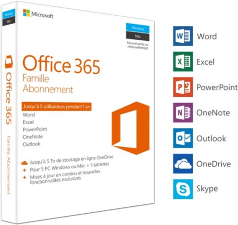 Logiciel MICROSOFT Office 365 Famille