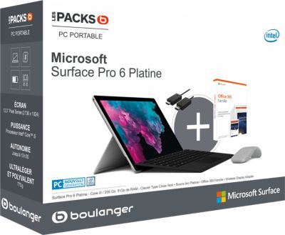 Pc Hybride microsoft pack surface pro 6 + souris + cover