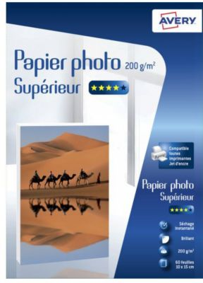 Papier photo Avery 60 Photos brillantes 10x15 200g/m²