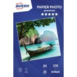 Papier AVERY 25 Photos brillantes A4 270
