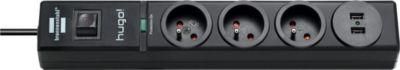 Adaptateur D'alimentation brennenstuhl 3 prises noir 2xusb 2m h05vv-F 3g1,5