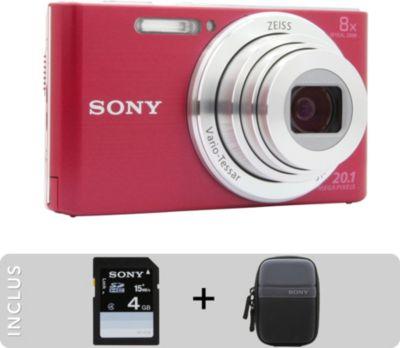 Appareil photo Compact Sony Pack DSC-W830 rose + Etui + SD 4Go