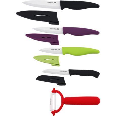 set essentielb 4 couteaux 1 plucheur lame c ramique. Black Bedroom Furniture Sets. Home Design Ideas