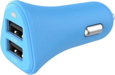 Chargeur Allume-Cigare essentielb 2 usb 4,8a bleu