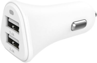 Chargeur Allume-Cigare essentielb 2 usb 4,8a blanc