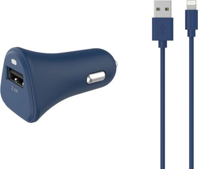 Chargeur Allume-Cigare essentielb usb 2,4a + cable lightning bleu nuit