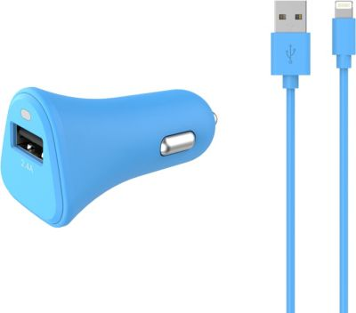 Chargeur allume-cigare Essentielb USB 2,4A + Cable lightning bleu