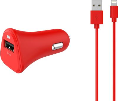 Chargeur Allume-Cigare essentielb usb 2,4a + cable lightning rouge