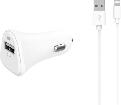Chargeur Allume-Cigare essentielb usb 2,4a + cable lightning blanc