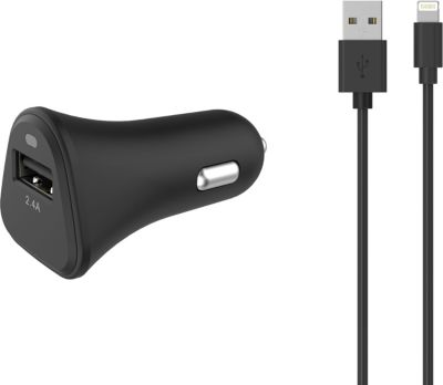Chargeur Allume-Cigare essentielb usb 2,4a + cable lightning noir