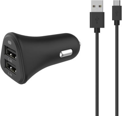 Chargeur Allume-Cigare essentielb 2 usb 4,8a + cable micro-usb noir