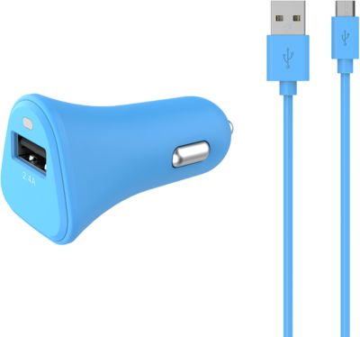 Chargeur Allume-Cigare essentielb usb 2,4a + cable micro-usb bleu