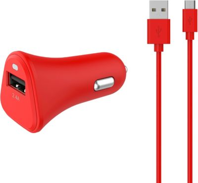 Chargeur Allume-Cigare essentielb usb 2,4a + cable micro-usb rouge