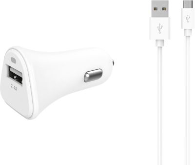 Chargeur Allume-Cigare essentielb usb 2,4a + cable micro-usb blanc