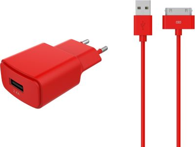 Chargeur Secteur essentielb usb 2,4a + cable 30 broches rouge