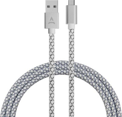 Câble Micro usb adeqwat 2m gris/blanc