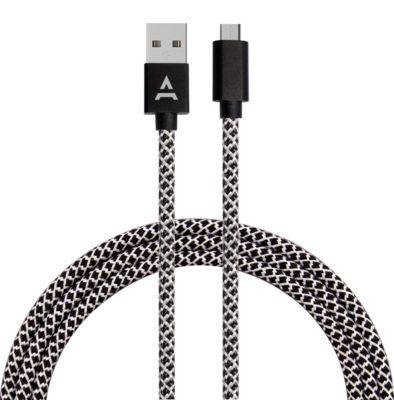 Câble Micro usb adeqwat 2m noir/blanc